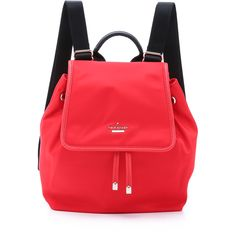 Kate Spade New York Nylon Molly Backpack ($230) ❤ liked on Polyvore featuring bags, backpacks, cherry liqueur, drawstring bag, flap backpack, nylon drawstring backpack, red bag and nylon drawstring bag