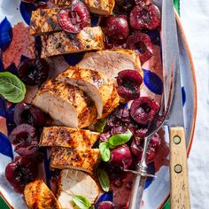 Grilling pork tenderloin is a delicious, smoky way to bring out the flavor of the meat. While you have the grill on, cook some green beans in a grill basket to serve alongside this juicy dish. Cherry Recipes, New Recipes, Healthy Recipes, Pork Chop Recipes, Grilling Recipes, Salmon Cakes, Grilled Pork, Filets, C'est Bon