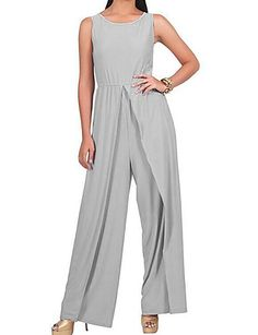 9bf1c0a3f7a0 Women s Split Plus Size Holiday   Weekend Sophisticated Gray Purple Khaki  Wide Leg Jumpsuit