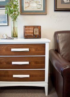white chest, wood drawers (makeover)