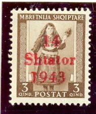 "The first issue of postage stamps for Albania consisted of former Italian occupation stamps with a ""14 Shtator 1943"" overprint ( 14th September 1943)."