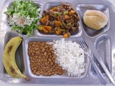 Brazil School Lunch : Rice, Beans, Bread, meat with vegetables, banana and alface