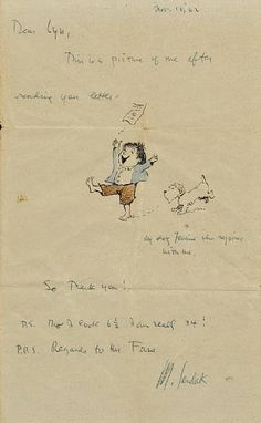 Note from Maurice Sendak (Where the Wild Things Are) (R.i.p. 2012).  Very cute and sweet.