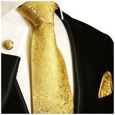 Gold Paul Malone Silk Necktie Set (902CH)