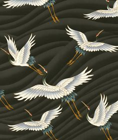 Tranquil Cranes on Taupe by Kona Bay Fabrics tran03-taupe