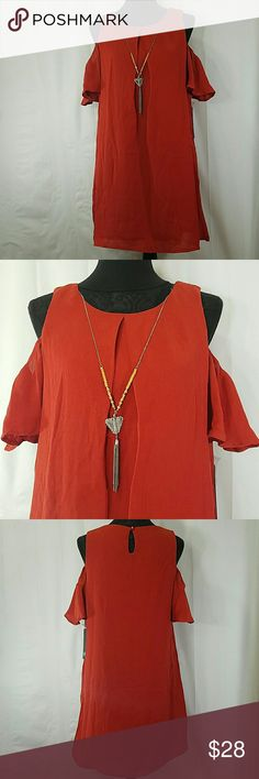 """AS U WISH Dress NWT. Size L 💥NL💥 PERFECT CONDITION💥 As U wish Dress NWT. NEVER WORN SIZE➡L COLOR➡dark orange FABRIC➡shell and lining 100% polyester PIT TO PIT➡20"""" LENGTH➡33""""  Very nice looking dress With detachable necklace And slit opening on shoulders and back Fully lined  🔼Check all the pictures and ask questions? 🌞PERFECT FOR ANY OCCASION  🚫NO TRADES 🚫NO MODELING 🔴REASONABLE OFFERS WELCOME ⭕CHECK MY OTHER LISTING AND BUNDLE As U Wish Dresses"""