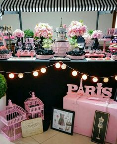 Similar colour scheme Paris Themed Birthday Party, 10th Birthday Parties, Birthday Party Themes, Paris Themed Parties, Spa Birthday, Thema Paris, Paris Sweet 16, Paris Baby Shower, Parisian Party