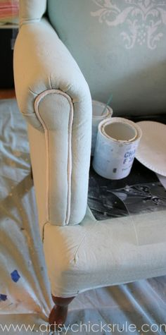 Chalk Painted Upholstered Chair Makeover - Painting Trim - artsychicksrule.com #paintedupholstery #chalkpaint #diy (3)