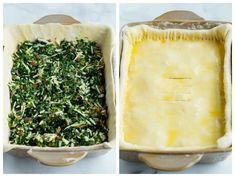 A casserole dish filled with spinach pie filling and topped with puff pastry dough. Spinach Quiche Recipes, Spinach Pie, Vegetable Quiche, Vegetable Side Dishes, Pie Recipes, Cooking Recipes, Christmas Side Dishes, Puff Pastry Dough, Side Dishes Easy
