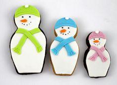 snow man cookies | Snowman nesting doll Christmas cookies