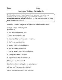 Worksheets Interjection Worksheets free interjection worksheets english pinterest interjections worksheet circling part 1 intermediate