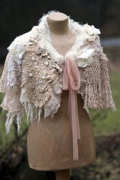 Romance bohemian shabby chic cape or shrug from by FleursBoheme