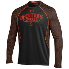 MLB Baltimore Orioles Under Armour Apex Print Performance Long Sleeve T-Shirt - Black