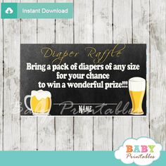 Printable Baby is Brewing Beer & BBQ baby shower game Diaper Raffle Ticketsfeature glasses of frothy beer against a black, chalkboard, background. #babyprintables
