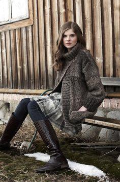 debbie bliss, looks so cosy Fashion Moda, Knit Fashion, Only Cardigan, Brown Cardigan, Winter Mode, Knit Jacket, Mode Inspiration, Knit Patterns, Autumn Winter Fashion