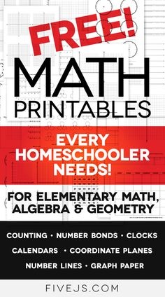 Free Math Worksheet Printables: Clocks, Graph Paper, Coordinate Planes, Number Lines, and More! - Five Js