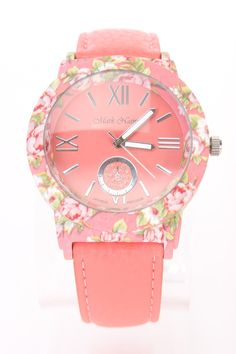 Let your fashion bloom with this watch! Featuring faux leather, floral print, round face, followed by high polish metal buckle. One size fits most.