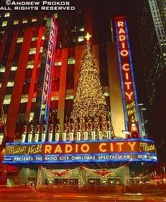 Radio City Music Hall with Christmas Tree Lights - http://andrewprokos.com