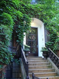 Love this entryway- beautiful door, vines, steps...perfect!