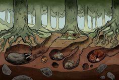 Living Things and Their Habitats - Underground Forest Habitat - Mercury Mine Grade Happenings Fox Habitat, Forest Habitat, Ocean Diorama, Animal Art Projects, Fun Projects, Animal Habitats, Fantasy Landscape, Forest Animals, Teaching Art