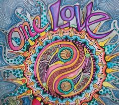 One Love Singleton Hippie Art Original by justgivemepeace on Etsy Hippie Peace, Happy Hippie, Hippie Love, Hippie Things, Hippie Style, Hippie Chick, Bohemian Style, Yoga Studio Design, Yin Yang
