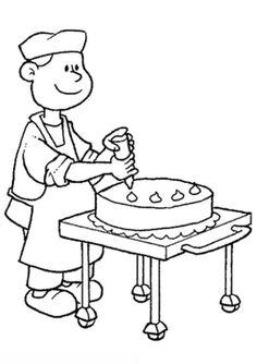 Kleurplaat bakker maakt een taart #kleurplaat #bakker #taart