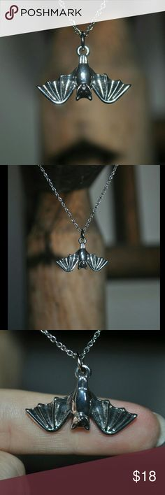Silver Hanging Bat Necklace  CUTE!!!!!! ❤ nwot / tags: gothic goth dark rock punk alternative horror metal bats rockabilly Jewelry Necklaces