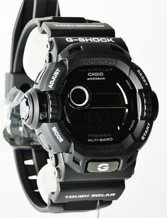 Casio G-Shock Mens Limited Edition All-Black Solar Riseman Casio G Shock Watches, Casio Watch, Cool Watches, Watches For Men, Radio Controlled Watches, Casio Vintage, Casio Protrek, Tactical Gear, Stylish Men