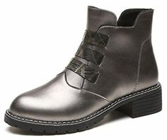 IDIFU Womens Stylish Round Toe Side Zip Up Biker Ankle Boots Low Heels Gun 75 BM US *** Amazon most trusted e-retailer