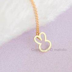Gold Bunny Necklace Gold Rabbit Necklace Bunny Rabbit by matoto