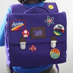 Custom patch work of purple school bag for kids TYPE B #01