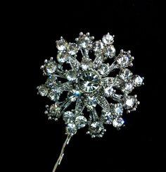 Bridal Crystal Mini Bobby Pin, Swarovski Wedding Party Bridesmaids Hair Jewelry, Round Starburst Flower Head Piece, FLARE. $39.00, via Etsy.