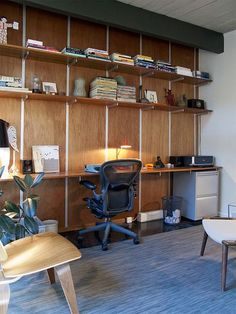 Idea for the office, wall tracks and nice wood shelves