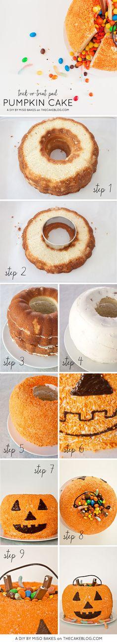 DIY Pumpkin Pinata Cake  |  by Miso Bakes  |  TheCakeBlog.com