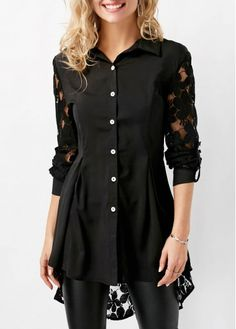 Lace Panel Asymmetric Hem Button Up Black Blouse on sale only US$33.95 now, buy cheap Lace Panel Asymmetric Hem Button Up Black Blouse at liligal.com