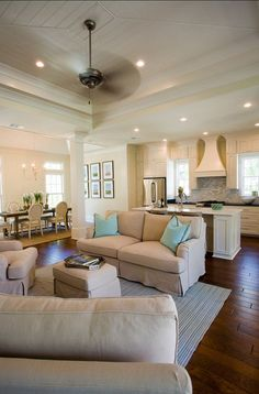 Open Kitchen into Living Room Concepts... too big for the small house, but pretty either way! Comfy but still big...