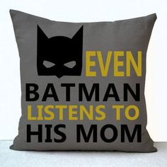 Batman boy room pillow cover on linen in print. A gentle reminder for every little one - even batman listens to his mom. This pillowcase makes a great add to a kids room decor, nursery or Birthday, Ch Baby Batman, Batman Pillow, Batman Baby Stuff, Batman Bedroom, Batman Room Decor, Bedroom Boys, Batman Nursery, Avengers Bedroom, Panda Nursery