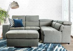Sectionnel lit en tissu gris avec ottoman inclu. Ottoman, Couch, Furniture, Home Decor, Home Ideas, Home Decoration, Modular Furniture, Grey Lounge, Grey Fabric