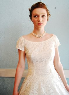 Beautiful 1950s white lace wedding dress on Etsy! $248