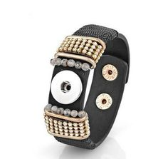 Black Rhinestone Leather Single Snap Bracelet Cuff 18-20mm Snaps (B259)