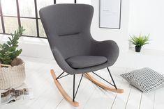 Design Schaukelstuhl SCANDINAVIA SWING Stoff dunkelgrau Schaukelsessel - Machen Sie es sich bequem! Ein gemütlicher Schaukelstuhl, in Form eines traditionellen Sessels, designt im modernen Scandinavia