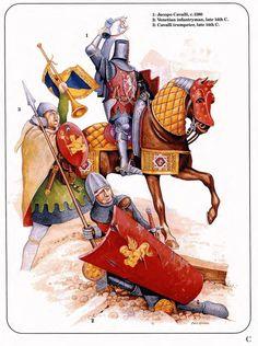 Cavaliere, trombettiere e fante veneziani, XIV secolo