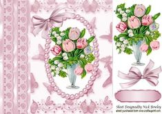 Pretty vintage vase of tulips and Gypsophila 8x8 on Craftsuprint - Add To Basket!