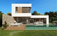 Twelve - Moderne Neubau Villa in Santa Ponsa. Exclusive villas, apartments and estates. Modern Family House, Modern House Plans, Modern House Facades, Modern Architecture House, Small Villa, Modern Villa Design, Luxury Homes Dream Houses, Dream House Exterior, Architect House