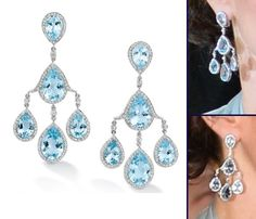 The Duchess wore Robinson Pelham earrings, the jeweler's Pagoda style set with blue topaz and diamonds in white gold (£14,300, about $22,000). Anna of My Small Obsessions pointed out that Carole Middleton actually wore these earrings back in 2011, for Kate and William's evening wedding reception.