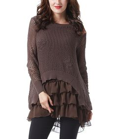 Loving this Brown Crochet Tiered-Ruffle Tunic on #zulily! #zulilyfinds