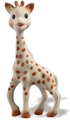 Sophie la Girafe, née le 25 mai 1961, jour de Sainte-Sophie; jouet à base de caoutchouc issu de la sève de'Hévéa est 100% naturelle