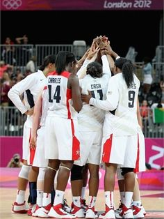 Team United States celebrates their 81-56 victory over Croatia during women's Basketball on Day 1 of the London 2012 Olympic Games at the Basketball Arena on 28 July.