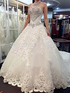 Cheap 2017 wedding dress, Buy Quality wedding dress with bow directly from China halter wedding dress Suppliers: Robe De Mariage 2017 Wedding Dresses Top Crystal Beads Halter Wedding Dresses with Bow Bridal Gowns Plus Size Vestido de noiva Wedding Dress Train, Applique Wedding Dress, Luxury Wedding Dress, 2015 Wedding Dresses, Tulle Wedding, Cheap Wedding Dress, Bridal Dresses, Wedding Gowns, Bling Wedding