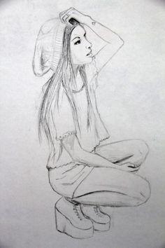 drawings easy drawing hipster pencil cool girly teenage sketches sad simple beginners yahoo